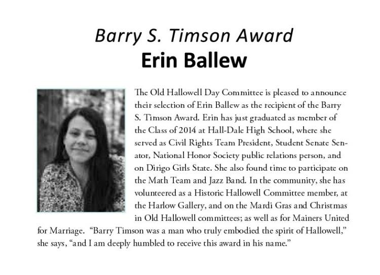 Timson Award 2014 Erin Ballew