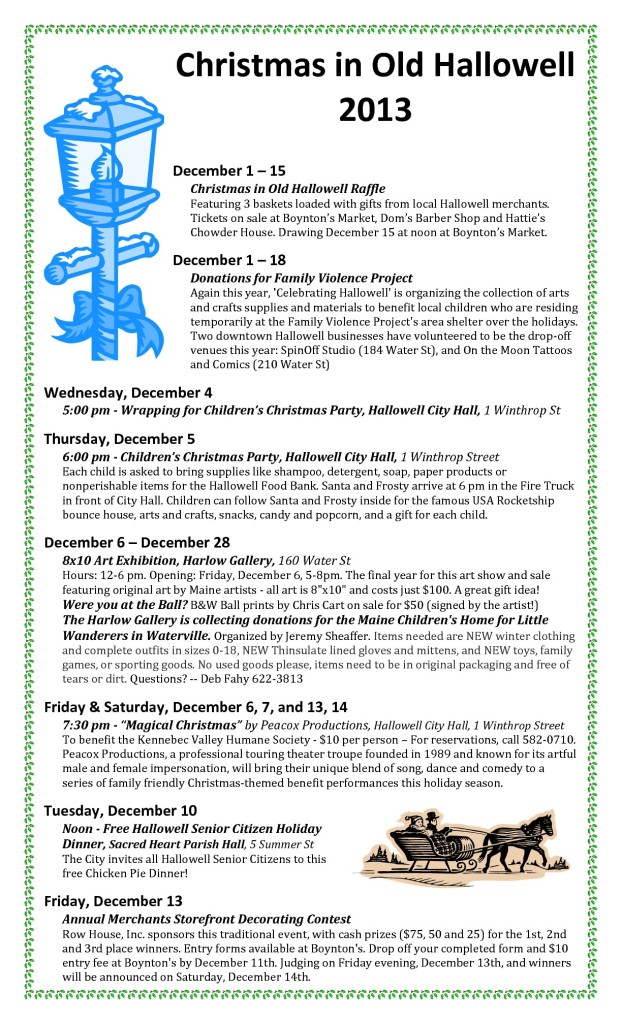 2013 Christmas in Old Hallowell schedule-001-001