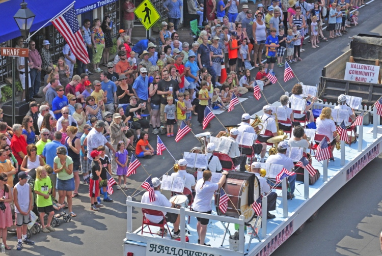 The Hallowell Community Band plays from a truck during the Old Hallowell Day parade in 2014. Photo by Joe Phelan