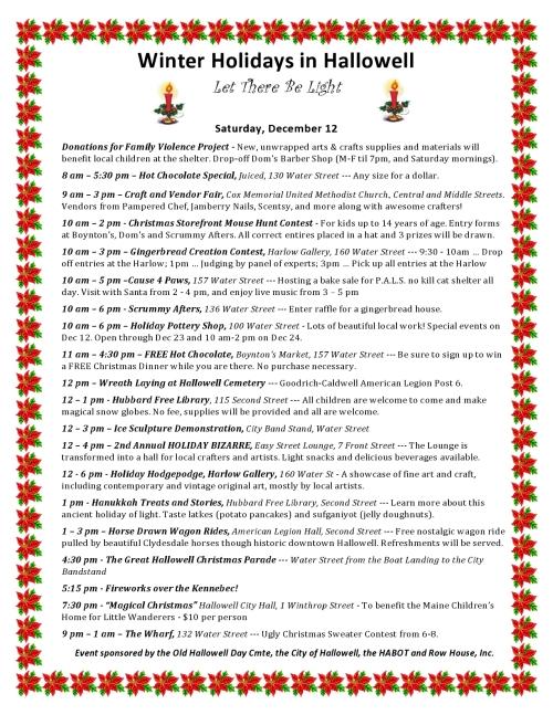 Winter Holidays schedule Dec 12 only