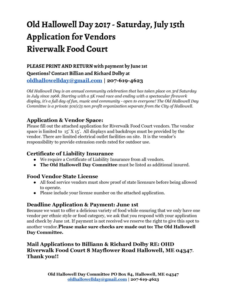 OHD Food Court Application 2017-001-001